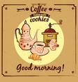 menu daking croissant biscuit coffee grinder vector image vector image