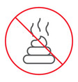 no shit thin line icon prohibition and forbidden vector image vector image