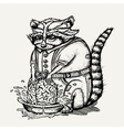 pen and ink humanlike raccoon vector image vector image