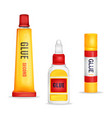 realistic glue tube stick bottle mockup set vector image vector image