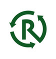 recycle letter r sign and symbol logo vector image vector image