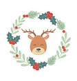 reindeer head wreath decoration celebration merry vector image