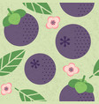 seamless pattern mangosteen leaves flowers vector image vector image