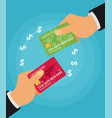 sending and receiving money with a credit card vector image vector image