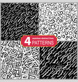 set of hand drawn seamless linocut patterns vector image vector image