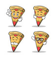 set of pizza character cartoon expression vector image vector image