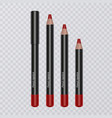 set of realistic lip pencils on transparent vector image vector image