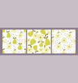 set three seamless patterns with pears vector image