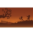 Silhouette of zombie and bat Halloween vector image vector image