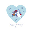 snowman sled gifts vector image