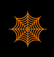 spider on web orange icon on black vector image