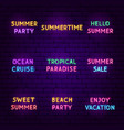 summer travel neon text set vector image vector image