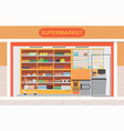 supermarket building and interior with fresh food vector image vector image