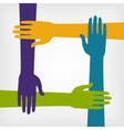 teamwork concept with hands vector image vector image
