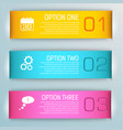 three isolated colored banner set vector image vector image