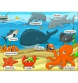 Underwater animals and fish with names cartoon vector image vector image
