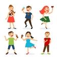Happy summer kids eating ice cream vector image