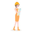 girl architect wearing yellow helmet female work vector image