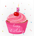 Happy birthday cake with candle and confetti vector image