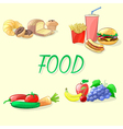 Colorful food Fast food vegetables fruits and vector image