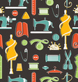 Sewing and tailor elements in seamless pattern vector image