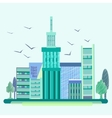 City birds trees houses buildings vector image