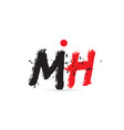 alphabet letter combination mh m h with grunge vector image vector image