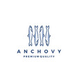 anchovy fish logo icon seafood vector image vector image