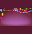 banner with garland colour flags inflatable vector image