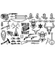 big set wild west iconscowboys indians vintage vector image
