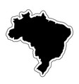 black silhouette of the country brazil with the vector image