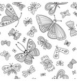 butterflies seamless pattern in boho style vector image