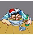 cartoon drunken sailor nuzzled plate vector image vector image