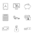 Cash icons set outline style vector image vector image