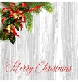 Christmas card with fir tree and jingle bells vector image vector image