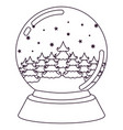 christmas crystal ball with winter forest vector image vector image