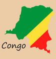 congo map and flag in white background vector image vector image
