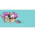 congratulation with roses in a basket vector image