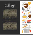 cooking promo banner with kitchenware and sample vector image