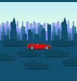 cool cartoon-style red car on dark city background vector image vector image