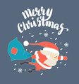 Cute Santa Claus Superman flying with Christmas vector image vector image