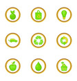different green icons set cartoon style vector image