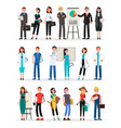 different work teams set professional staff vector image