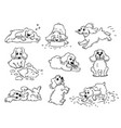 dog behavior - black and white drawing set cute vector image vector image