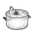 fish peeks out a pot water sketch vector image