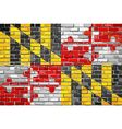 Flag of Maryland on a brick wall vector image vector image