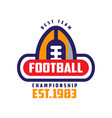 Football championship best team est 1983 logo vector image
