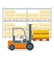 Forklift working in a warehouse vector image vector image