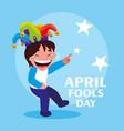 happy boy with joker hat april fools day card vector image vector image