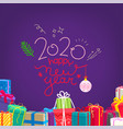happy new 2020 year banner with lettering vector image